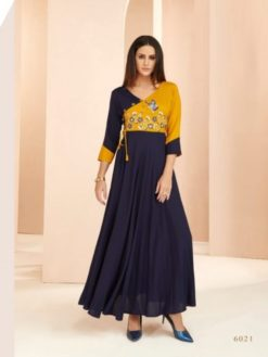 Navy Blue Heavy Rayon Gowns Design No. - 6021