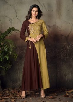 Brown Heavy Rayon Gowns Design No. - 6014