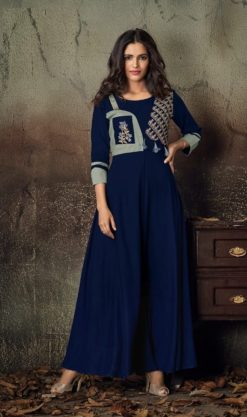 Navy Blue Heavy Rayon Gowns Design No. - 6016