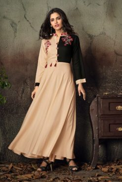 Peach Heavy Rayon Gowns Design No. - 6018