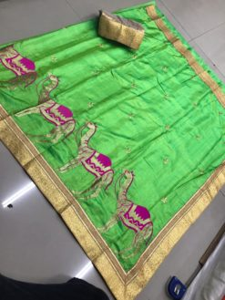 Parrot Green Sana Bhahubali Silk Saree With Blouse