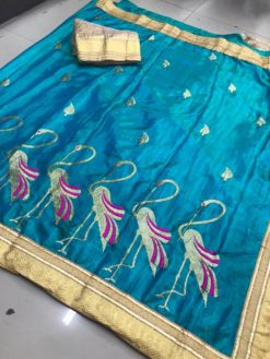 Blue Sana Bhahubali Silk Saree With Blouse