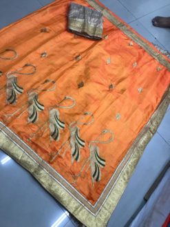 Orange Sana Bhahubali Silk Saree With Blouse