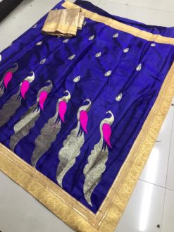 Dark Blue Sana Bhahubali Silk Saree With Blouse