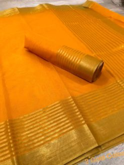 Gold Color Kota Doriya Cotton Saree With Blouse