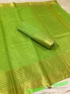 Parrot Green Kota Doriya Cotton Saree With Blouse