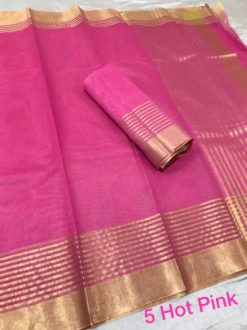 Hot Pink Kota Doriya Cotton Saree With Blouse