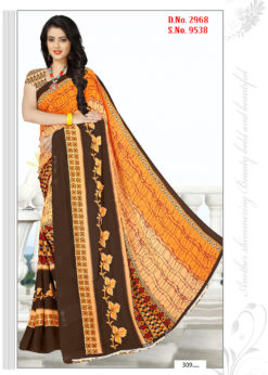 Orange Brown Soft Georgette Wholesale Saree With Blouse