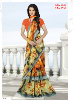 Orange Soft Georgette Wholesale Saree With Blouse