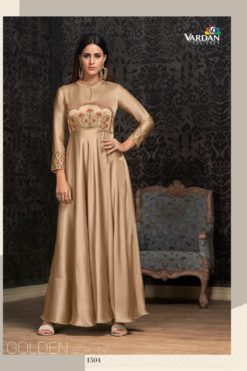Cream Glowing Georgette Wholesale Gowns Design No. - 1504
