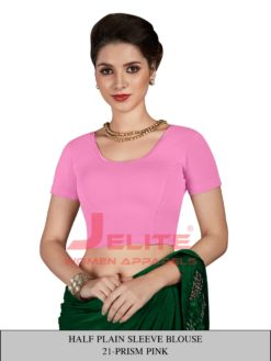 Prism Pink Half Plain Sleeves Readymade Blouse Wholesale