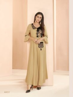 Cream Brown Heavy Rayon Gowns Design No. - 6022