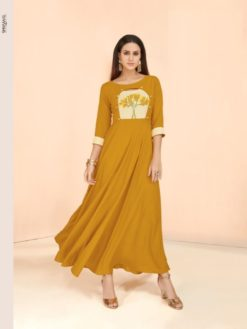 Yellow Heavy Rayon Gowns Design No. - 6026