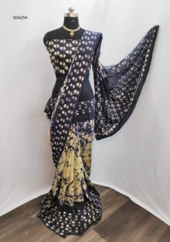 Black Color Pure Cotton Silk Batik Saree Code SDA254