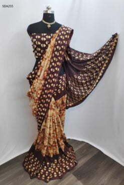 Brown Color Pure Cotton Silk Batik Saree Code SDA255