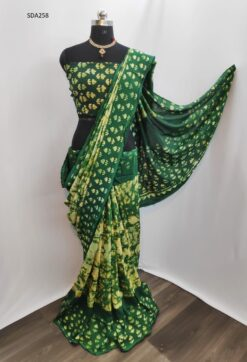 Dark Green Color Pure Cotton Silk Batik Saree Code SDA258