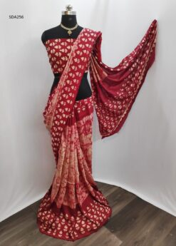 Dark Red Color Pure Cotton Silk Batik Saree Code SDA256