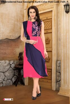 Embroidered Faux Georgette Kurti Color Pink Code 7105