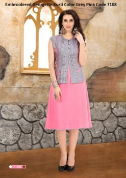 Embroidered Georgette Kurti Color Grey Pink Code 7108