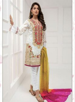 Floral White Color Semi Stitched Pakistani Suit Code - 1020