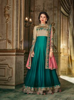 Lovely Green Silk Embroidered Work Designer Anarkali Suit