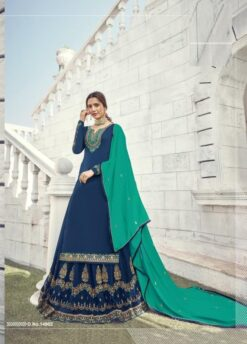 Nile Blue Persian Green Satin Georgette Dress Material