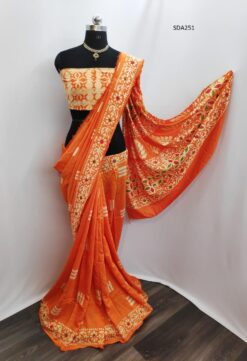 Orange Color Pure Cotton Silk Batik Saree Code SDA251