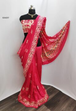 Pink Color Pure Cotton Silk Batik Saree Code SDA257