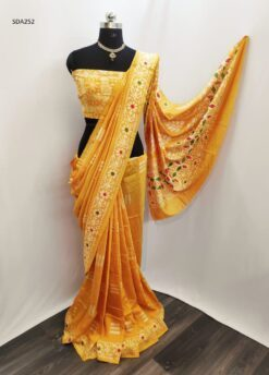 Yellow Color Pure Cotton Silk Batik Saree Code SDA252