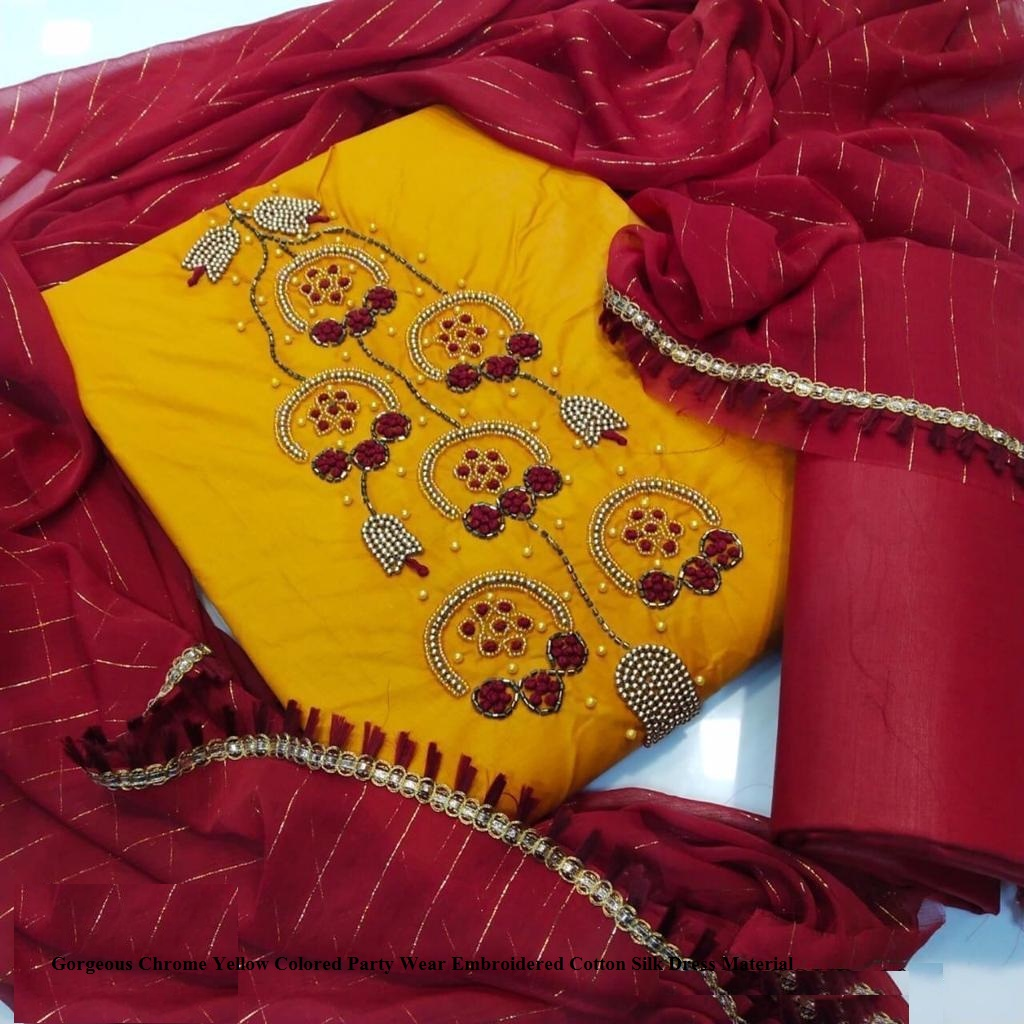 Gorgeous Chrome Yellow Colored Party Wear Embroidered Cotton Silk Dress Material Textile123