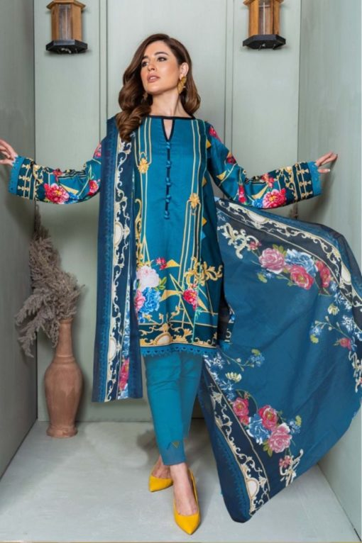 Bahama Blue Color Cotton Dress Material Code 2010