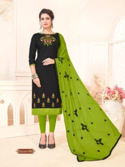Bastile Green Glace Cotton With Embroidery Dress Material 1002
