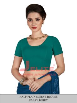 Bay Berry Colour Half Plain Sleeves Wholesale Readymade Blouse
