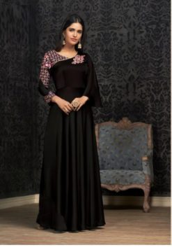 Black Glowing Georgette With Embroidery Work Gown 1503-D