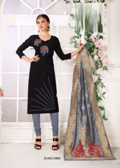 Black Grey Cotton Flex Handloom Cotton Dress Material 1004
