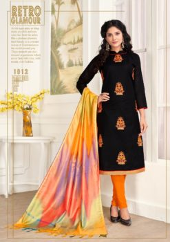 Black Orange Pc Cotton Dress Material 1012