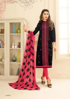 Black Pink Lakda Jacquard with Embroidery Dress Material 50003