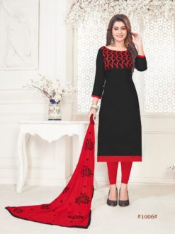 Black Red Glace Cotton With Embroidery