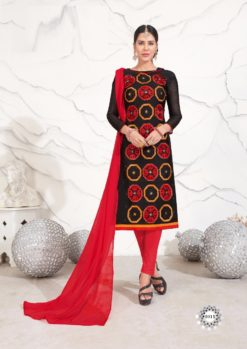Black Red Pink Chanderi with Embroidery Kurti 1011