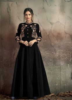Black Soft Tapeta With Embroidery Work Gown 1406- A