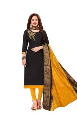 Black Yellow South Cotton Slub With Embroidery Dress Materials 1004