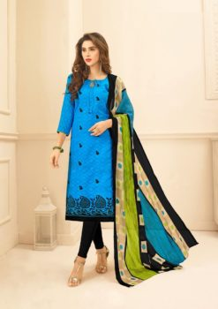 Blue Black Lakda Jacquard with Embroidery Dress Material 50005
