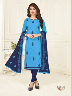Blue Bombay Jaquard With Work Dress Material 1008