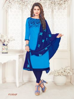 Blue Glace Cotton With Embroidery 1004