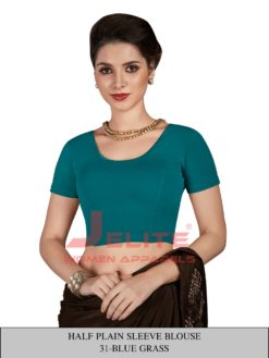 Blue Grass Colour Half Plain Sleeves Wholesale Readymade Blouse