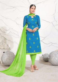 Blue Green Chanderi with Embroidery Kurti 1007