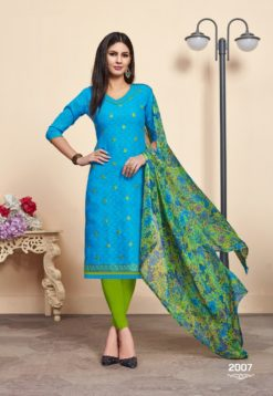Blue Green Lakda Jacquard Dress Material 2008