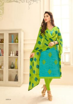 Blue Green Lakda Jacquard with Embroidery Dress Material 50014
