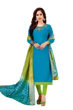 Blue Green South Cotton Slub With Embroidery Dress Materials 1003
