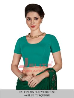 Blue Turquoise Half Plain Sleeves Wholesale Readymade Blouse